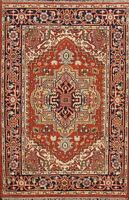 Traditional Geometric Indo Heriz Oriental Area Rug Classic Hand-knotted Wool 4x6