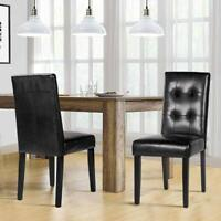 Classic Upholstered Dining Chairs Set of 2 Black PU High Back w/Solid Wood Legs