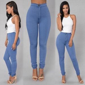 Women High Waist Denim Jeans Pencil Pants Stretchy Slim Skinny Casual Trousers