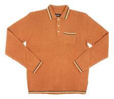 Brixton Mens Cypher Knit Polo Sweater Burnt Orange M New