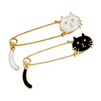 2pcs Safety Pin White Black Enamel Cat Charms Gold Alloy Metal Brooch Pin Lapel