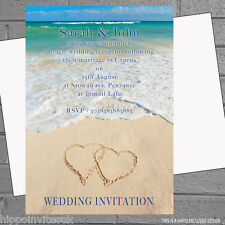 Heart in Sand Beach Wedding Evening Day Reception Invitations x 12 +env H0256