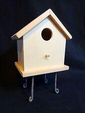 Birdhouse on Metal Pedestal Legs Unfinished Wood Wren