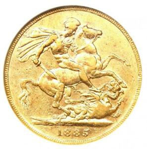 1885 Great Britain England Victoria Gold Sovereign Coin 1S. Certified ANACS XF45