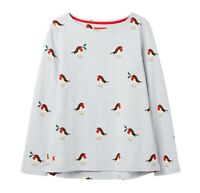 Joules Festive Harbour Print Jersey Top (Robin)