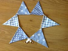 BUNTING CURTAIN TIE-BACKS ~ baby blue gingham, polka dot spot and shooting stars