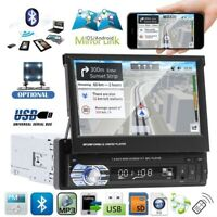 """7"""" Touch Screen Car MP5 Stereo Radio Single 1 DIN Flip out Bluetooth + Camera"""