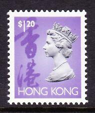 Hong kong 1992 $1.20 violet vif, noir & lilas deux phos. bandes sg 709ap neuf sans charnière.