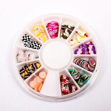 120pcs (1BOX) Dessert Cake Wheel Decor Fimo Clay Nail Tips Art Slice A1715-11