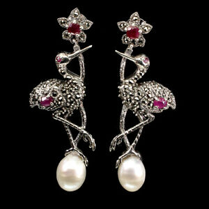 Heated Oval Red Ruby 4x3mm Pearl Marcasite 925 Sterling Silver Egret Earrings