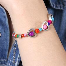 HOT New Tibet silver multicolor jade turquoise bead heart-shaped bracelet S128