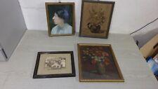 Antike Bilder 4 Alte Bilder Foto , Malerei Frau , antike Rahmen