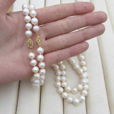 18 inch real photos  2pcs SOUTH SEA AAA +WHITE PEARL NECKLACE 14K CLASP