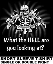 WHAT THE HELL ARE YOU LOOKING AT ? PIRATE CARIBBEAN SKULL SKELETON SWORD T-SHIRT