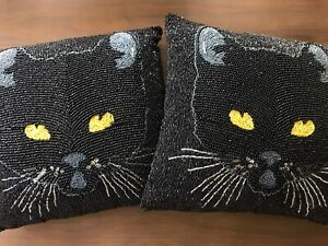 """Pier 1 One Halloween Black Cat Beaded Throw Pillows 14"""" Square Set Of 2 NEW!"""