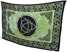 "Green Triquetra Tapestry Blanket 72 x 108"" Wiccan Pagan Altar Supply WTCG"