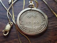 """1940 British West Africa Palm Coin Pendant on 20"""" 18kgf Gold Filled Snake Chain"""