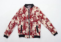 Sky Home Womens Size L Cotton Floral Red Bomber Jacket