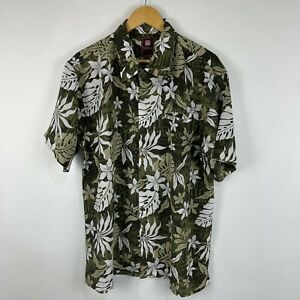 Tribal Mens Button Up Shirt Size XL Multicoloured Floral Short Sleeve Collared
