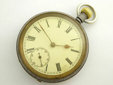 Early 1900s Crown Wind Mechanical Omega Case Gun Metal Pocket Watch LAYBY AVA