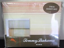 New Tommy Bahama Home 4 Piece Twin Sheet Set Coastal Stripe Papaya Orange Cotton