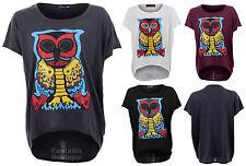 Damen Fledermausärmel Promi Nieten Eule Bunt Aufdruck Baggy T-Shirt Top 8-14