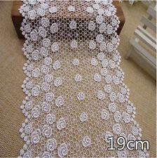 "1 Yard White Rose Vintage Flounce Delicate Net Lace Trim  7 1/2"" Wide"