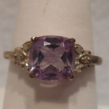 Vintage Estate~2.74 cts Genuine Amethyst & Diamond 925 Sterling Silver Ring Sz 9
