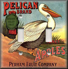 Metal Light Switch Plate Cover - Vintage Fruit Crate Decor Pelican Brand Apples