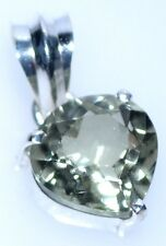 Green Amethyst Heart 925 Sterling SILVER Pendant NEW Solitaire Jewellery  NEW!