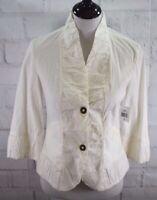 New XCVI Wearables Lightweight Blazer Jacket 2 Snap Button White Stretch Sz S