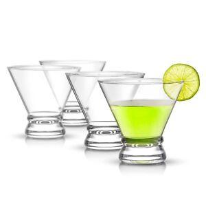 JoyJolt Afina Stemless Martini Glasses Set of 4, 8 oz Heavy Base Cocktail Glass