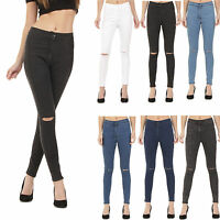 WOMENS HIGH WAISTED RIPPED KNEE SKINNY JEANS LADIES JEGGINGS 6 - 18