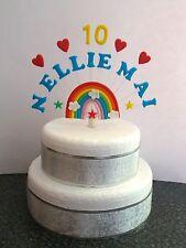 Rainbow Cuore personalizzato qualsiasi nome ed età, di compleanno/battesimo cake topper