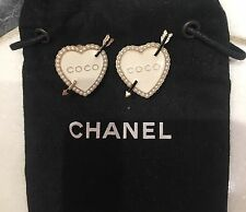 Chanel Hearts Coco Cupid Pearl Ivory Earrings