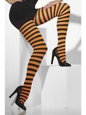 Smiffys Opaque Tights, Orange & Black, Striped - Female - UK Dress Size 6-18
