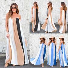 Summer Women Loose Casual Striped Beach Dress Sleeveless Party Long Maxi Dresses