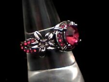 Quality Fashion Creation to Impress! Red Created Agate in Antiqued Steel Size 8