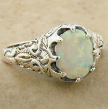 Lab Opal Ring Size 10, #1002 Victorian Antique Style 925 Sterling Silver White