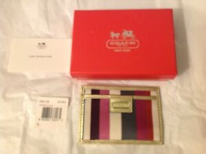 Coach Legacy Credit Card ID Case Wristlet Purse Stripe Multicolor SV Leather