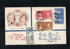 BERMUDA - 1937 - KG VI - CORONATION - REGISTERED FIRST DAY COVER - HAMILTON CDS