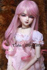 1/3 8-9 Bjd Perücke Dal Pullip Blythe SD LÜTS Puppe Spielzeug lange rosa Haare