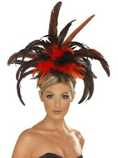 Mardi Gras Carnival Festival Can Can Burlesque Black Red Feather Headdress 21043