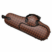 Plaid Faux Leather Hard Alto Saxophone Case Lightweight Sax Carry Bags