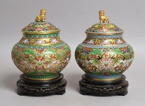 A VERY FINE PAIR OF VINTAGE HEAVY CHINESE CLOISONNE BRONZE VASES ON STANDS