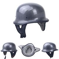 DOT Carbon Fiber German Style Motorcycle Half Helmet Skull Cap Scooter Chopper