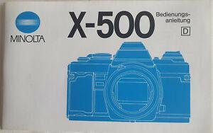 Original Bedienungsanleitung Owner's Manual Minolta X-500 in Deutsch Top