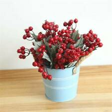 100Pcs x Christmas Red Berry Holly Leaves Branch Artificial Flower Pick Decor US