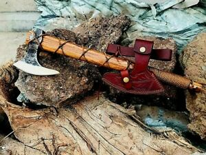 MDM CUSTOM MADE TOMAHAWK VIKING AXE, CAMPING AXE, WITH WRAPPED HANDLE