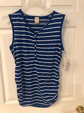 FADED GLORY WOMEN'S BLUE & WHITE STRIPED SLEEVELESS HENLEY TOP SIZE L NWT